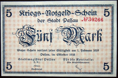 PASSAU 1918 5 Mark Grossnotgeld German Notgeld Banknote Bavaria