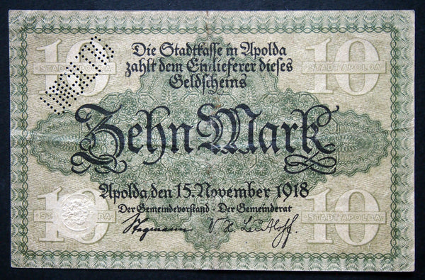 APOLDA 1918 10 Mark Grossnotgeld German Notgeld Banknote G-1349