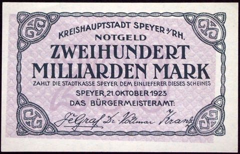 SPEYER 1923 *UNCATALOGED SPECIMEN* No serial, No zone-stamp! 200 Billion Inflation Notgeld 200 Milliarden
