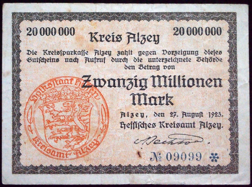 ALZEY 1923 20 Million Mark Inflation Notgeld German Banknote