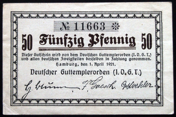 "HAMBURG 1921 ""I.O.G.T Temperance Society"" complete set of one German Notgeld IOGT"