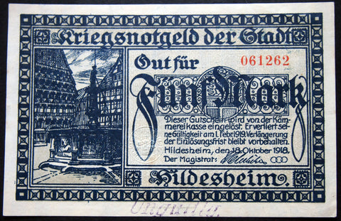 "HILDESHEIM 1918 ""Greed is the Root of All Evil"" 5 Mark Grossnotgeld German Notgeld"
