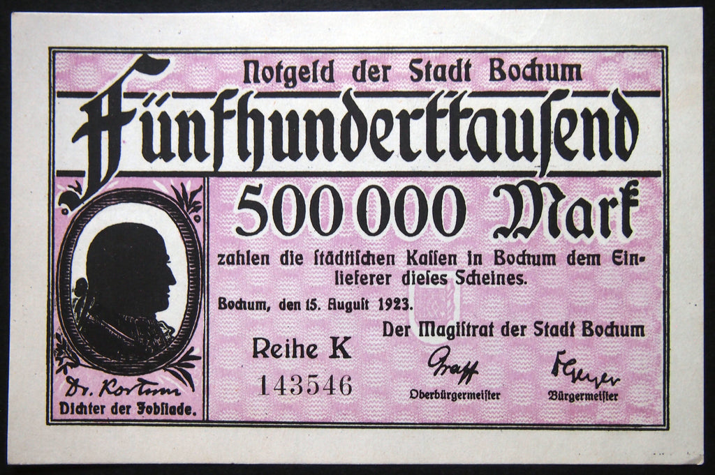BOCHUM 1923 500,000 Mark Inflation Notgeld Series K German Banknote