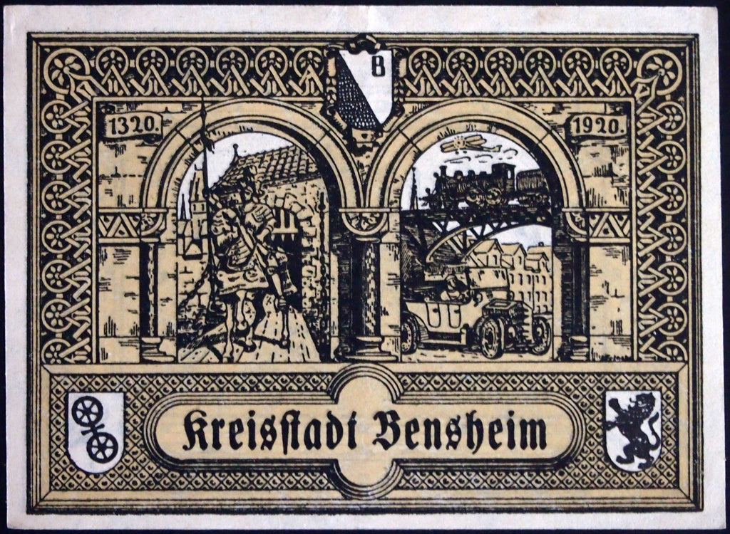 "BENSHEIM 1920 ""Knight/Automobile"" 50 Pfennig German Notgeld Hessen"