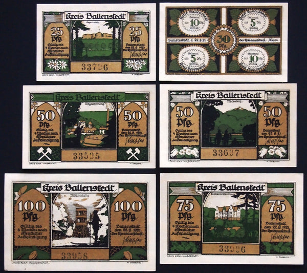 "BALLENSTEDT 1921 ""Gnomes Hard at Work"" complete series quadruple-note German Notgeld"
