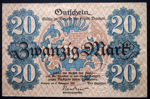 BAUTZEN 1918 20 Mark Grossnotgeld Notgeld Germany