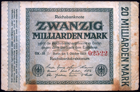 GERMANY 1923 20 Billion Mark P-118a rarer inflation note 20 Milliarden
