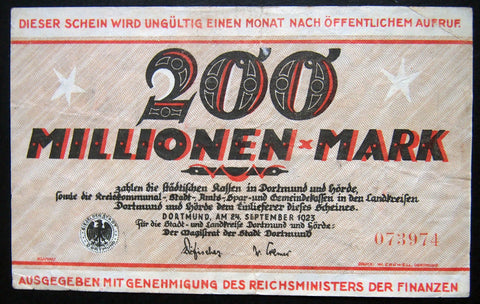 DORTMUND and HÖRDE 1923 100 Million Mark Inflation Notgeld German Banknote