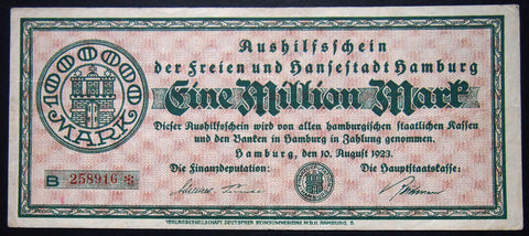 HAMBURG 1923 1 Million Mark long note! Inflation Notgeld German Banknote B-258916