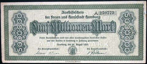 HAMBURG 1923 5 Million Mark long note! Inflation Notgeld German Banknote A-250775
