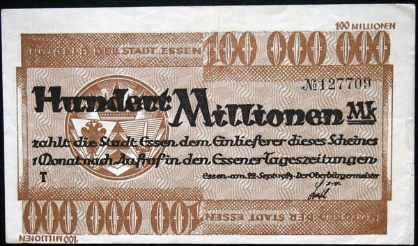 ESSEN 1923 100 Million Mark Inflation Notgeld Germany