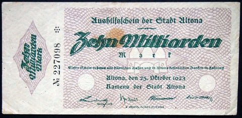 ALTONA (HAMBURG) 1923 10 Billion Mark Inflation Notgeld German Banknote 10 Milliarden