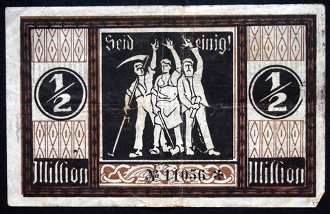 "GÖPPINGEN 1923 ""Be United"" 1/2 Million Mark Inflation Notgeld"