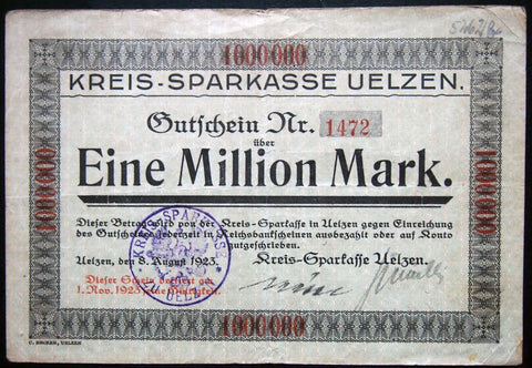 UELZEN 1923 rare 1 Million Mark Inflation Notgeld German Banknote