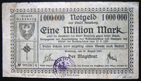 ARNSBERG 1923 1 Million Mark Inflation Notgeld German Banknote