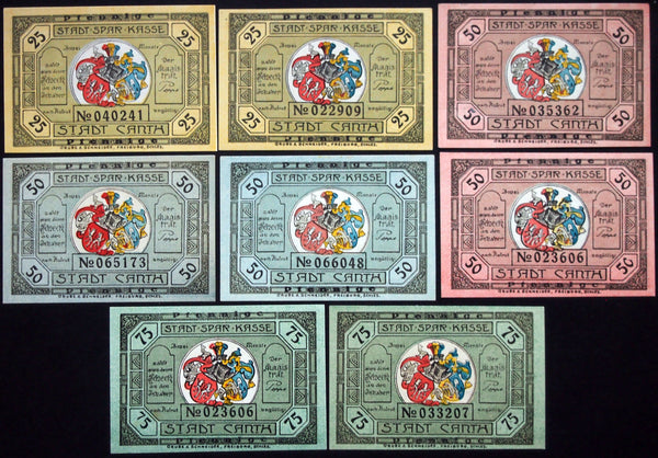 CANTH 1922 complete color series w/serials German Notgeld Schlesien today Poland