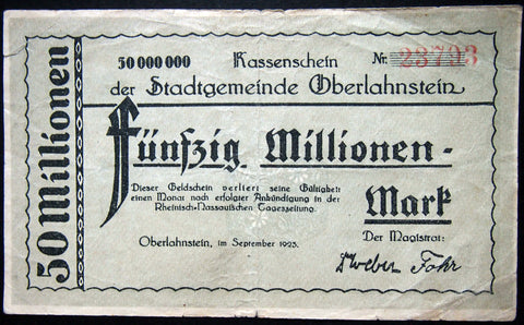 OBERLAHNSTEIN 1923 rare 50 Million Mark Inflation Notgeld Hessen Germany
