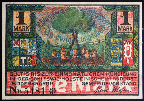 "SÜDERBRARUP 1920 ""Forever Undivided"" rare color sky variant!! Notgeld German"