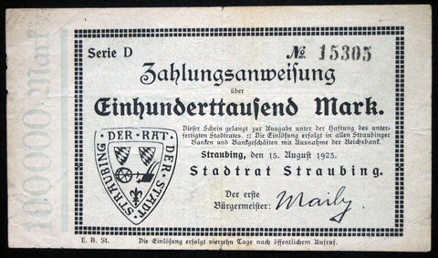 STRAUBING 1923 100,000 Mark Inflation Notgeld German Banknote Bavaria