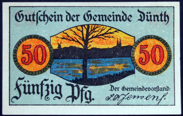 "DÜNTH 1919 ""Howitzers at the Ready"" German Notgeld Denmark Danish Flag"