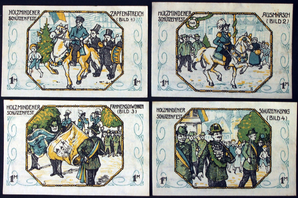 "HOLZMINDEN 1921 ""Shooting Festival"" 4x1 Mark complete set German Notgeld"
