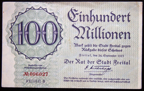 FREITAL 1923 100 Million Mark Inflation Notgeld German Banknote