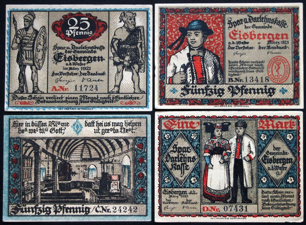 "EISBERGEN 1921 ""Traditional Costume"" complete series Notgeld Germany"
