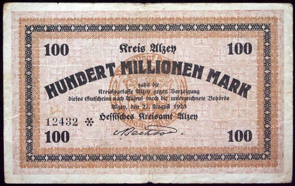 ALZEY 1923 100 Million Mark Inflation Notgeld German Banknote