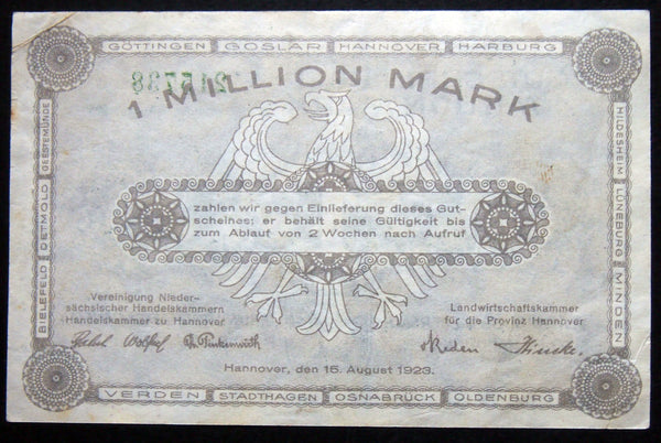 "HANNOVER et. al. 1923 ""Assoc. of Lower Saxon Chambers of Commerce"" 1 Million Mark Inflation Notgeld"