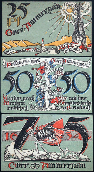 "OBERAMMERGAU 1921 ""Oberammergau Passion Play"" complete w/two 4-digit serials! German Notgeld"