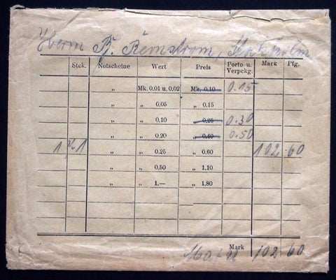 5pcs 1920s Robert Ball Invoice Envelopes German Notgeld