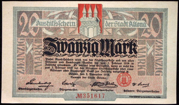 ALTONA (HAMBURG) 1918 20 Mark Germany Notgeld Grossnotgeld