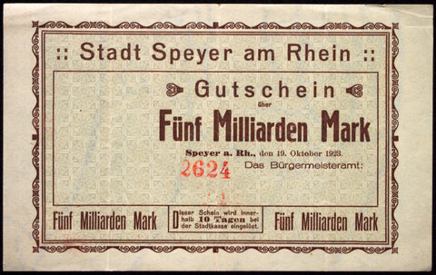 SPEYER 1923 *UNCATALOGED* 5 Billion Mark Inflation Notgeld 5 Milliarden