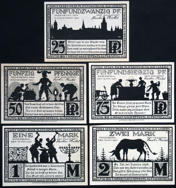 "PADERBORN ""Donkey 'Minting' Ducats"" 1921 complete black set Notgeld Germany"