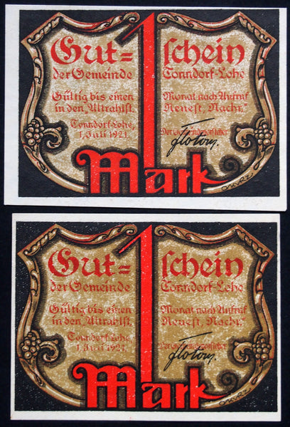 "TONNDORF-LOHE 1921 ""The Just Must Suffer Greatly"" 2x1 Mark German Notgeld"