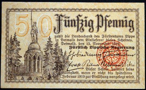 "LIPPE (DETMOLD) 1918 50 Pf ""Royal Lippisch Government"" Notgeld Germany"