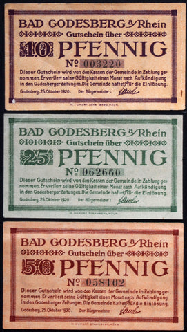 BAD GODESBERG 1920 complete set circulating Notgeld Germany