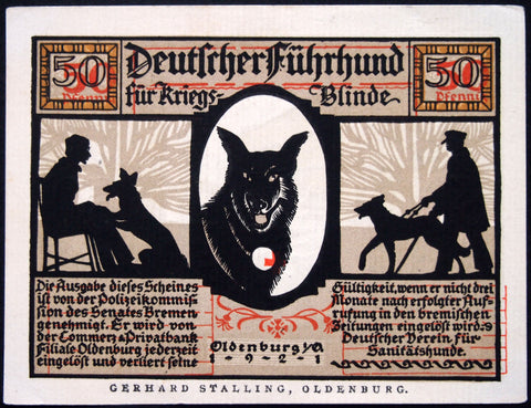 "OLDENBURG 1921 ""Guide Dogs for War-Blind"" *error note!* misprint German Notgeld"