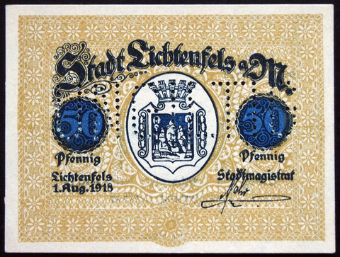 LICHTENFELS 1918 *SPECIMEN* 50 Pf circulating German Notgeld complete set of one