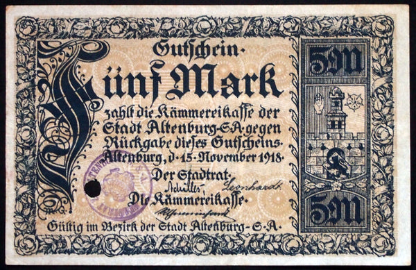 ALTENBURG 1918 5 Mark Grossnotgeld German Notgeld Banknote