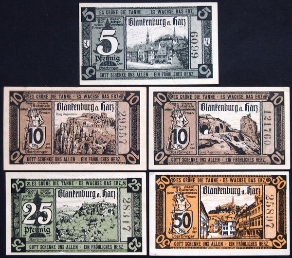 "BLANKENBURG 1920 ""Witch on Broomstick"" German Notgeld Harz Mountains"