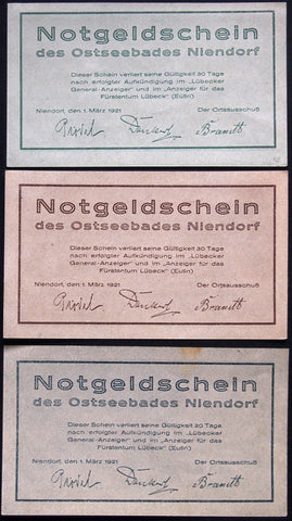 "NIENDORF 1921 ""Baltic Sea Coast Views"" complete series German Notgeld"