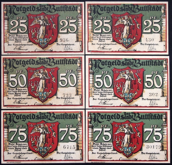 "BUTTSTÄDT 1921 ""Horse/Ox Markets, City Scenes"" four 3-digit serials! complete series German Notgeld"