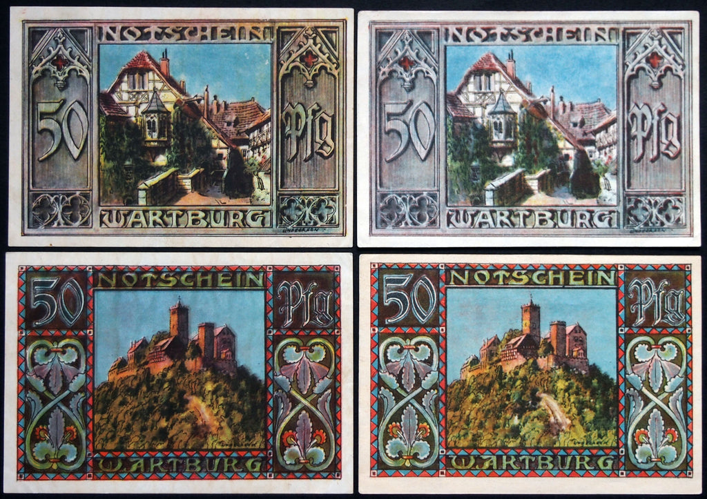 "EISENACH 1921 ""Human Life in Animal Form"" 2 complete sets, both watermarks! Notgeld Germany"