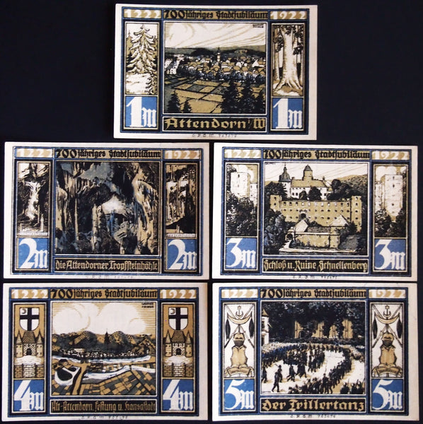 "ATTENDORN 1922 ""City Views"" complete series Notgeld Germany"