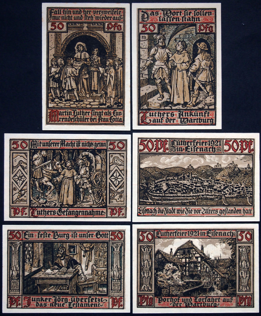 "EISENACH 1921 ""Luthergeld"" complete Martin Luther set w/green serials German Notgeld"