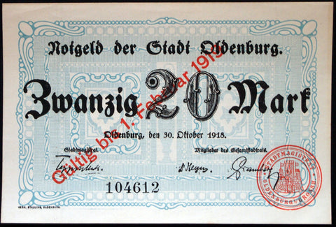 OLDENBURG 1918 20 Mark uncanceled Grossnotgeld German Notgeld
