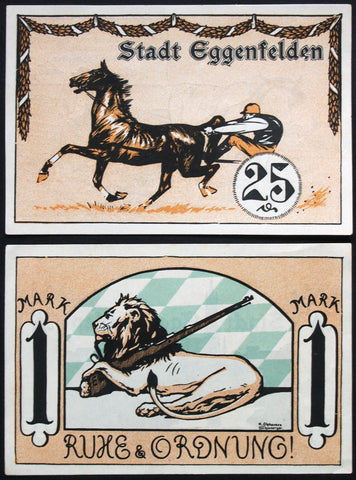 "EGGENFELDEN 1921 ""Poor Jockey Technique/Lion with Rifle"" complete series German Notgeld"