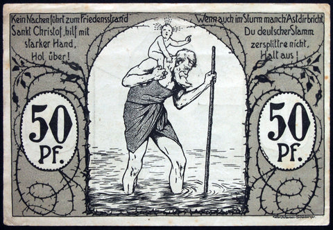 "EGGENFELDEN 1920 ""Baby Riding Piggyback"" complete set of one German Notgeld"