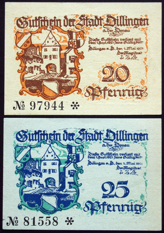 DILLINGEN 1920 complete waterlined paper series German Notgeld Bavaria